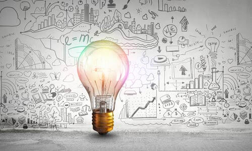 Light bulb with ideas (thought leadership)